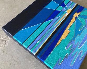 "Small Modern Pop Sunrise Seascape Art 8x8"""