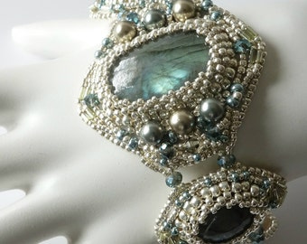 Labradorite Beaded Cuff Bracelet, Blue Flash Gemstones, Pearls, Crystals, Light Gold, Sterling Silver, Freeform Beadweaving, Beaded Jewelry