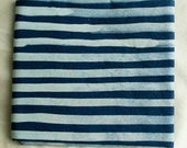 Two Stripes Hand Dyed and Patterned Cotton Fabric/ Indigo