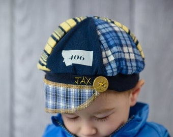 Jax Hat Child size - Blue and gold hat -  upcycled hat - recycled - Montana Bobcat - chemo hat - Christmas gift for child - stocking stuffer