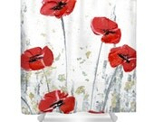 Designer Shower Curtain Art- abstract poppy red white and gold floral, modern interior design, bathroom home decor from Susanna's art