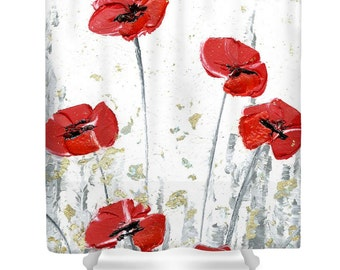 shower curtain floral red and white
