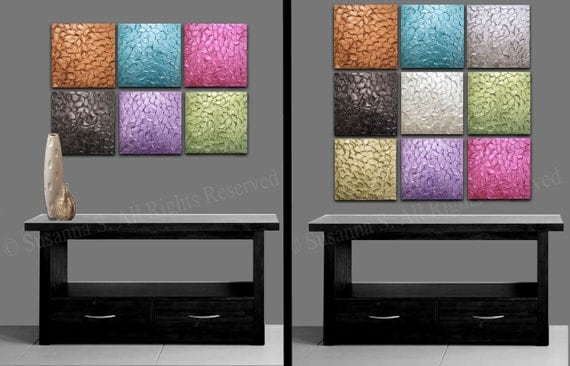 "Up to 72"" Original Thick Texture Paintings, Art Installation Wall Decor Wall Hanging Wall Art Mural Mix&Match Huge Selection of Colors/Sizes"
