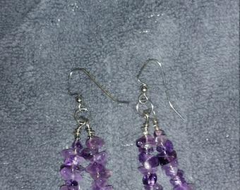 Purple Glass Dangle Earrings