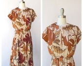 brown leaf dress / autumn dress ( s-m)