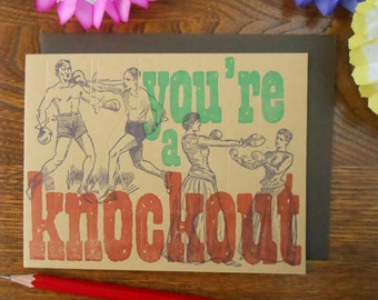 letterpress vintage boxing you're a knockout greeting card 3 colors