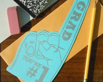 "letterpress grad you're #1 ""foam"" finger die-cut flat note bright aqua blue with silver ink graduation card"