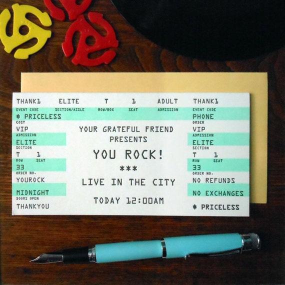letterpress thank you rock concert ticket greeting card you rock mint black white