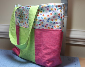 Paw Prints Tote Bag with six pockets