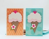 Ice Cream Cone Mini Cards/Tags, Gift Enclouse Cards, Set of 6