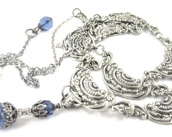 Filigree Collar ... Blue Victorian Filigree Collar Necklace One of a Kind  Jewelry