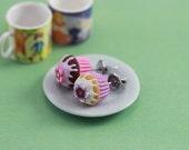 Choaolate-Vanilla Cupcake - Studs / Post Earrings