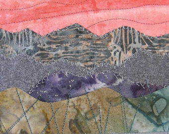 Fabric Postcard, Quilted Postcard, Textile Art, Greeting Card, Landscape Art, Mountain Landscape, Nature Postcard, Mountain Sunset