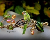Green Parrot Crystal Flowers and Band Bracelet