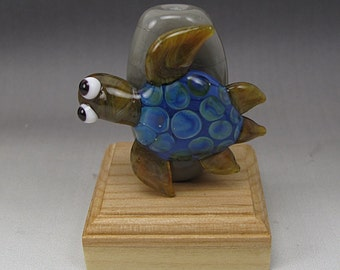 Handmade Lampwork Glass Turtle Focal Bead by Jason Powers SRA