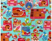 HALF YARD - Kawaii Animals with Sweets on AQUA Blue - Candy Candies Chocolates Sweets Bunny, Deer, Kitty Cat - Cosmo Textile Japanese Import
