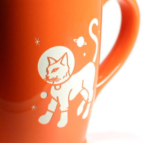Astronaut Cat Mug - Tangerine Orange - large ceramic space coffee cup