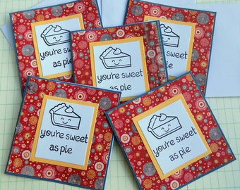 Sweet as PIe Mini Note Card Set Handmade stamped Gift Tag with Envelope