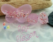 Lampwork Beads Rose Pink Blossom Butterfly Set