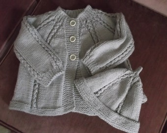 Grey Cable Baby Sweater with matching Hat