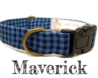 "Blue Black Gingham Handsome Boy Preppy Plaid Dog Collar - Organic Cotton Dog Collar - All Antique Brass Hardware - ""Maverick"""