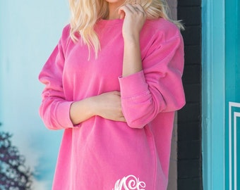Monogrammed Comfort Colors Sweatshirt, Womens Crewneck Pullovers, Personalized Comfort Colors, Island Reef, Lagoon Blue, Chalky Mint, Banana