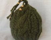 Chunky Knit Hat Sage Green Alpaca Beaded