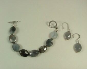 Botswana Agate Bracelet and Earring set S-8