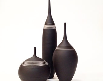 MADE TO ORDER-  3 ceramic stoneware bottle vases by sara paloma. Ceramics and pottery mid century modern stoneware vessel design black white