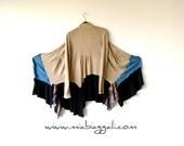 XS - M Camel~Teal~Black & Paisley Cardigan gypsy clothing lagenlook boho chic hippie sweater boho clothing wearable art