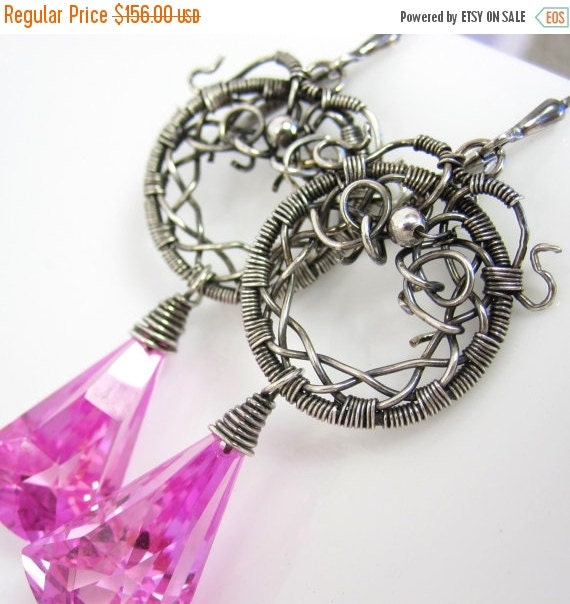 VDAY SALE The Pink Lantern Earrings - Pink Topaz from Wrapped Silver Hoops