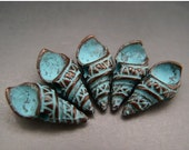 BIG SALE Naos Mykonos Beads Greek Beads Cassidae Spiral Shell Charms Antiqued Green Patina (5 charms)