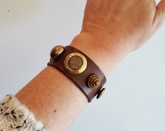 Brown Leather Cuff with Vintage Gold Tone Buttons made from Repurposed Belt