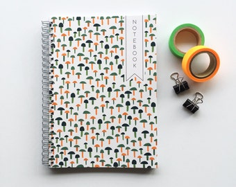 Teeny Mushrooms patterned, spiral bound A5 notebook for doodles, planning and brilliant ideas - 100 pages - Micro Dot inside - Handmade