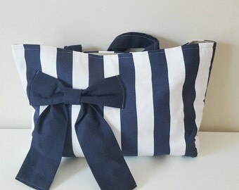Striped Navy and white nautical tote bag large