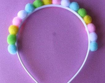 Pastel Pom Poms Headband