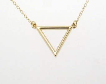 Gold Triangle Necklace, 14k Gold V Charm, Gold Chain, Layering Necklace in Yellow, White, or Rose Gold by Theresa Mink