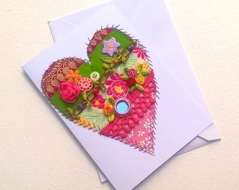 Greeting Card - Original Textile Artwork - Crazy Patchwork Embellished Heart