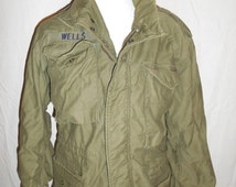 SALE vintage Army Military green Jacket     field    warm winter thick jacket