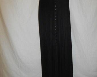 SALE 90s Black Ribbed Skirt, 90s Minimalist Skirt, Long Black Skirt