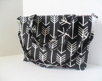 Black Arrow Diaper Bag - Convertible Bag - Messenger Bag - Diaper Bag - Tote Bag - Laptop Bag - Arrow Diaper Bag