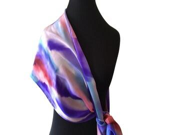 Scarf, Silk, Hand Painted Purple, Blue, Pink Silk Scarf