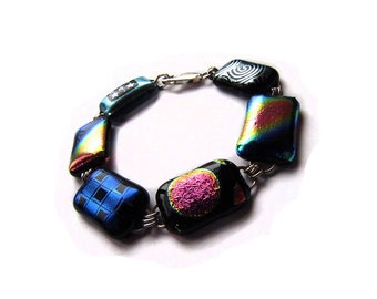 Dichroic Glass and Silver Links Bracelet