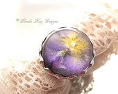 Real Pansy Ring Soldered Resin Dome Flower Ring Statement Ring Resin Lorelie Kay Original