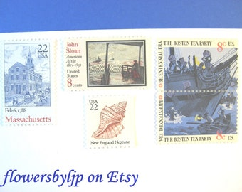 Massachusetts Wedding Postage Stamps, Boston Tea Party, Boats, Seashell, Mail 20 Invitations 68 cents postage 2 oz, Boston nautical stamps