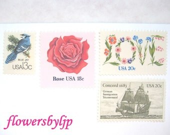 Floral Wedding Postage Stamps, Love Flowers Stamp, Red Rose Stamp, Sailing Ship Stamp, Bird, Mail 20 Invitations 2 oz, 68 cent stamps unused