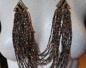 SALE Tribal Boho Gypsy Gold and Black Multi Beaded Collar Necklace