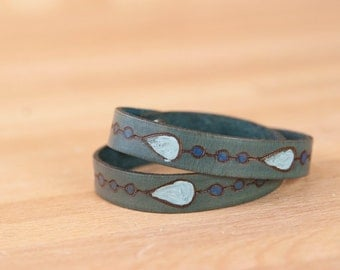 Leather Wrap Bracelet for Women - Double wrap skinny cuff with rain drops - Rain pattern in Blue