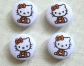 U05 Fabric Covered Buttons (20 mm) - Set of 4 - Kitty Red Bow