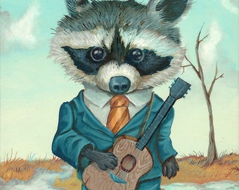 Raccoon with Guitar -  limited edition reproduction by Mr. Hooper